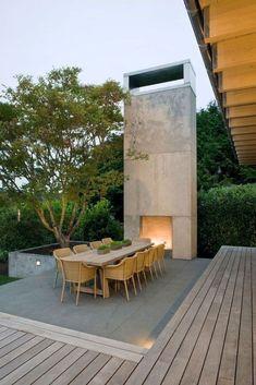 31 Fabulous Outdoor Fireplace Design Ideas Best For Your Backyard Outside Fireplace, Backyard Fireplace, Fire Pit Backyard, Backyard Patio, Outdoor Rooms, Outdoor Dining, Outdoor Decor, Outdoor Seating, Outdoor Furniture