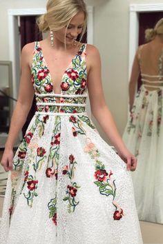 8a5002863b1 Custom Made Popular Long Prom Dresses Princess V Neck Floral Embroidery  Long Prom Dress