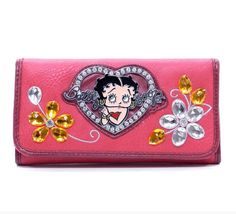 Health  Beauty Collection  - Classic Betty Boop® Checkbook Wallet w/ Flower Gemstone $25.99