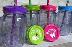 Great party favor!  Personalized mason jar tumblers! Camping party
