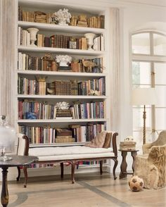 Beautifully Styled Bookcase - Neoclassical Home in Houston - via MurphyMears.com