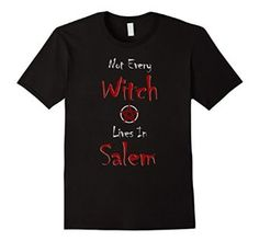 """Salem Witchcraft Shirt - Salem Witch Pentagram Shirt. Free shipping with Amazon Prime. This pentagram shirt is perfect for letting everyone know what you stand for. Whether you are pagan, wiccan or into the occult, this witchcraft is a great choice. Even if you're not a believer, this shirt would be perfect for halloween and turn some heads! It features the quote """" Not every witch lives in Salem with a pentagram in the middle."""