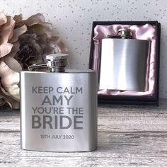 Keep Calm hen party personalised engraved hip flask gift Hen Party Gifts, Pink Satin, Bride Gifts, Flasks, Satin Fabric, Keep Calm, Presents, Gifts, Stay Calm