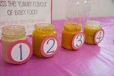 Name that baby food! Fun idea for a baby shower - blind taste test of purees. Yum? #babyshoergame #babyshowerideas #babyshower
