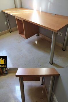 Mesa de estudio de laminado de haya con soporte para torre de ordenador. Office Desk, Corner Desk, Furniture, Home Decor, Tower, Studio, Products, Mesas, Corner Table