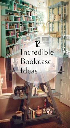 Bookcase ideas, DIY bookcase, decorating with books, unique bookcase, popular posts, DIY home decor, home improvement.