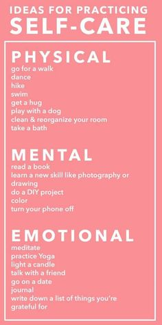 Self care is physical, mental and emotional; make sure that your needs are being met in all of these areas <3