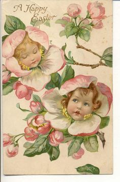 Vintage  Easter post Card  sweet little girl by innocentpainting, $3.95