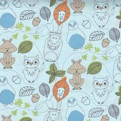 Camelot Cottons House Designer :: Day at the Zoo >>Woodland Zoo in Light Blue
