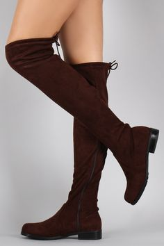 Suede Drawstring Over-The-Knee Flat Boots - Bare Feet Shoes - 5