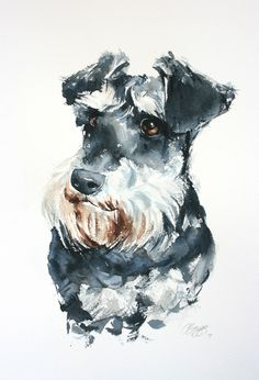 Custom pet portrait in watercolour