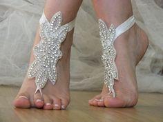 rhinestone barefoot, bridal anklet, Beach wedding von bridal accessories auf DaWanda.com