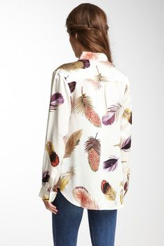 feather print silk blouse