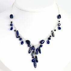 Sterling Silver 16 Inch Blue Sandstone/Dark Blue Cultured Pearl Necklace