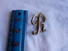 Vintage Gold Tone Mamselle Capital R Pin / Brooch - for sale at Wenzel Thrifty Nickel ecrater store