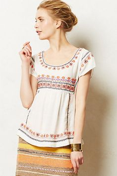 Daisy Chain Tee from Anthropologie. Cute fit and pattern. Loose but not frumpy. LOVE The pairing with the skirt.