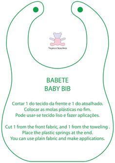 Moldes Grátis | Free Sewing Patterns: Babete simples com tutorial | Baby Bib Pattern and Tutorial