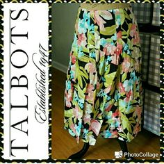 """50% OFF DAYLIGHT SAVINGS SALE ! 24 HOURS! In great condition.  Talbots skirt. Tropical floral print cotton, completely lined,  fitted through hips then full loose pleats. Side zip. Right above knee length. Measurements are length 25"""", waist 30"""". Talbots Skirts A-Line or Full"""