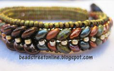 Adele Kimpell's Lentille bracelet pattern beaded by Janet using CzechMates two-hole lentils and SuperDuos