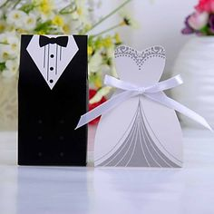 Tuxedo Or Gown Favor Box With White Ribbon (Set of 12) - USD $ 1.99