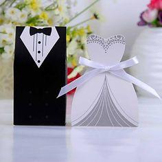 σμόκιν ή φόρεμα κουτί εύνοια με λευκή κορδέλα (σετ των 12) – EUR € 1.71