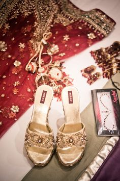 shoes with zardozi & crystal embellishment