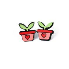 Venta caliente de la Personalidad de La Moda Pequeño Corazón de Acrílico Fruta Plátano Sandía Star Stud Pendientes Para Las Mujeres Muchos Diseños