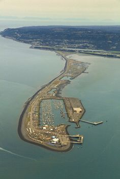 An ariel view of Homer, Alaska & 'the spit' which, is the long piece of land extending into the bay.