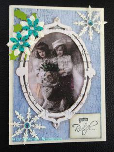 Nostalgische Weihnachtskarte mit zwei kleinen Mädchen und einem Hund