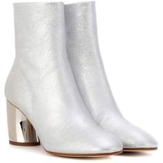 Proenza Schouler Metallic Leather Ankle Boots ($865) ❤ liked on Polyvore featuring shoes, boots, ankle booties, silver, bootie boots, proenza schouler boots, metallic bootie, short leather boots and metallic boots