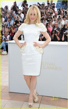 Wedding dress inspiration from Cannes 2011- Rachel McAdams in sweet cap sleeved frock, perfect for your wedding reception!