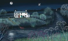 Print on paper of English countryside at night with river and owl from an original acrylic painting 'Moon River' by Jo Grundy Moon River, Norman Rockwell, Canvas Art, Canvas Prints, Art Prints, Kitsch, Seasonal Image, River Painting, Naive Art