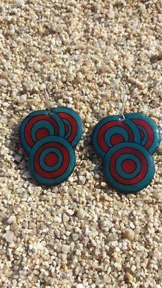 Red and blue petrol circle earrings geometric by DionaCrafts Dainty Jewelry, Modern Jewelry, Jewelry Accessories, Etsy Jewelry, Handmade Jewelry, Handmade Items, Circle Earrings, Costume Jewelry, Red And Blue