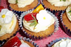 Pimms Cupcake - Pimms infused sponge with strawberry, cucumber and orange buttercream