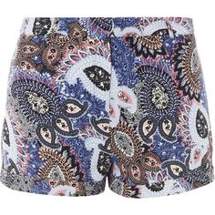 Dorothy Perkins Paisley Crepe Shorts (200 UAH) ❤ liked on Polyvore featuring shorts, bottoms, multi color, dorothy perkins, colorful shorts, paisley shorts and multi colored shorts