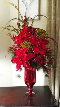 Christmas Floral Arrangement, Red Poinsettia Floral, Christmas Decor, Cardinal on the Mantel