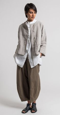 Oska Linen Talida Jacket in Natural | Santa Fe Dry Goods & Workshop #ss17, wide leg pant tapers with rounded? Back hemline? Fabric has body and holds shape