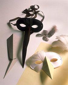 Martha Stewart Living, October 1997    Silken feathers and paper beaks make hauntingly beautiful birdlike masks.