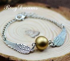 Harry potter Golden Snitch Bracelet, Silver Double sided wings