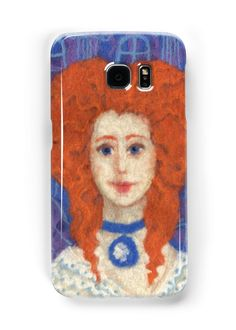 """""""Red Hair, ginger lady, rococo haircut, felt painting, fiber art"""" Samsung Galaxy Cases & Skins by clipsocallipso 
