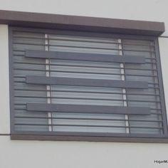 Ventana con herrer a contempor nea con rejas horizontales for Espejos rectangulares horizontales