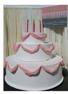 Oversized Giant Birthday Dake With Pink Fabric Accents