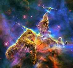 Hubble Space Image: Mystic mountain / pillars, Carina Nebula. Professionally enhanced photo (better clarity, more vibrant colors), prints available.