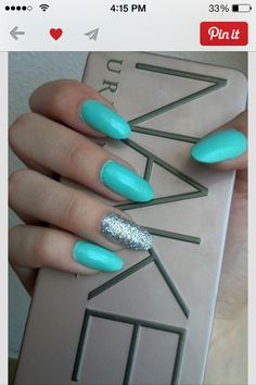 Turquoise nails with silver accent