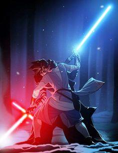 Rey and Kylo Ren duel