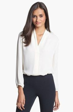 Elegant and great for work. Theory 'Helona' Silk Blouse available at Elegant. Work Fashion, Fashion Outfits, Bluse Outfit, White Silk Blouse, Mein Style, Work Blouse, Business Outfits, Business Style, Look Chic