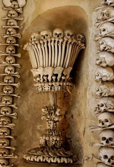 """Bone Chalice. Sedlec Ossuary, Kostnice Sedlec, or """"Bone Church"""" in Kutná Hora, Czech Republic. Bone pyramids were stacked in the ossuary by (according to legend) a half-blind monk around 1511, when a mass grave was unearthed and the bones needed a new home. In 1870, František Rint was emplyed to put the bones in order, and so the ex-woodcarver did; among his works of bone art, he left behind his signature in, of course, bones."""