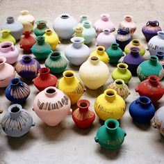 Colored vases.