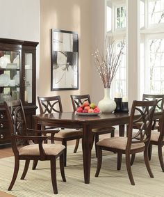 Look at this Rich Espresso Seven-Piece Traditional Dining Set on #zulily today!