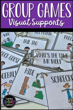 10 mini visual instruction books for teaching common group games to students with autism. Great for special education. Special Education Activities, Autism Resources, Teaching Resources, Teaching Emotions, Autism Teaching, Group Games, Social Skills, Life Skills, Raising